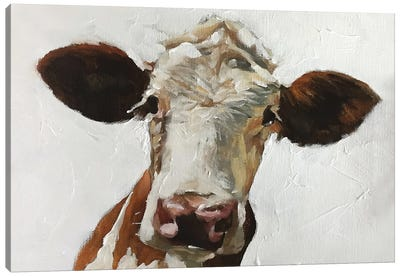 White And Brown Cow Canvas Art Print
