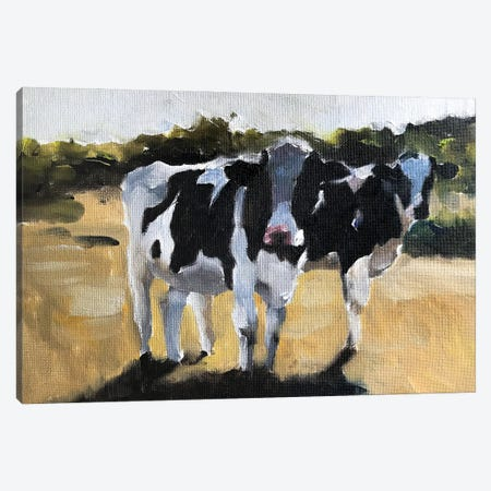 Two Cows In A Field Canvas Print #JCT2} by James Coates Canvas Art Print