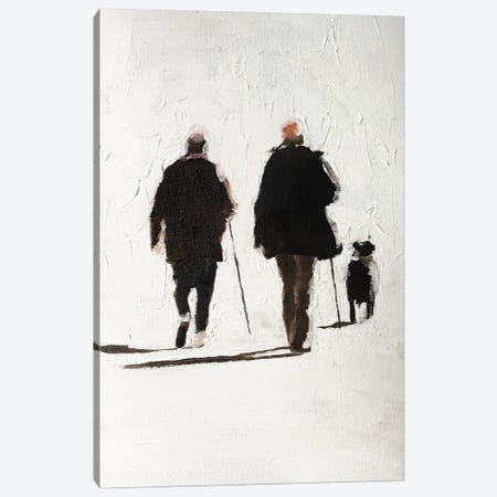 Couple And Their Dog Canvas Print #JCT34} by James Coates Canvas Artwork