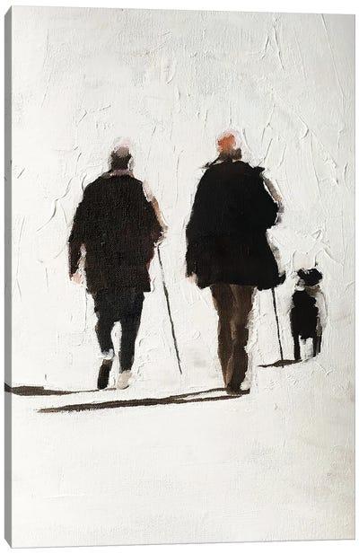 Couple And Their Dog Canvas Art Print