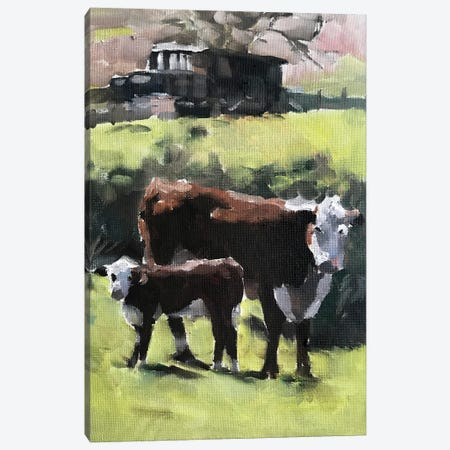 Cow And Calf Canvas Print #JCT42} by James Coates Canvas Wall Art