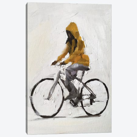 Cycling In The Rain Canvas Print #JCT49} by James Coates Canvas Artwork