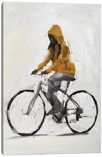 Cycling In The Rain Canvas Art Print