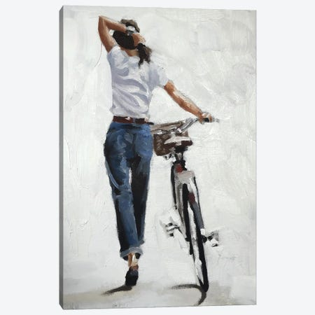 A Bike In One Hand, Confidence In The Other Canvas Print #JCT5} by James Coates Canvas Wall Art