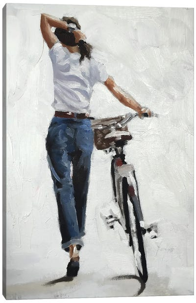 A Bike In One Hand, Confidence In The Other Canvas Art Print