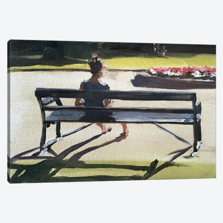 Girl On A Bench Canvas Print #JCT60} by James Coates Canvas Wall Art