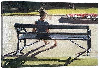 Girl On A Bench Canvas Art Print
