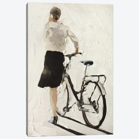 Girl Walking With A Bike Canvas Print #JCT61} by James Coates Canvas Wall Art