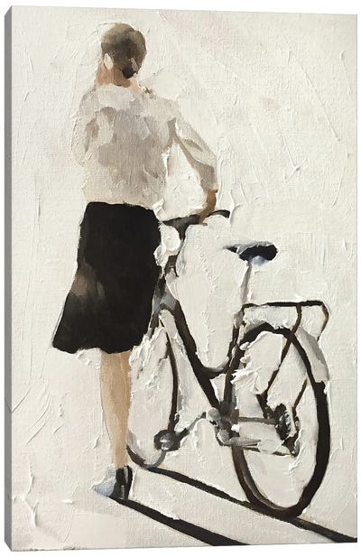Girl Walking With A Bike Canvas Art Print