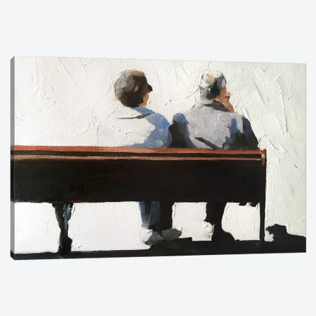 A Couple On A Bench Canvas Print #JCT6} by James Coates Canvas Wall Art