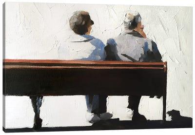 A Couple On A Bench Canvas Art Print