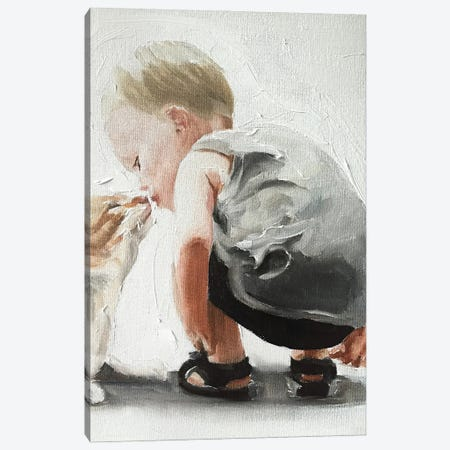 Kitten And Baby Bond Canvas Print #JCT83} by James Coates Canvas Art