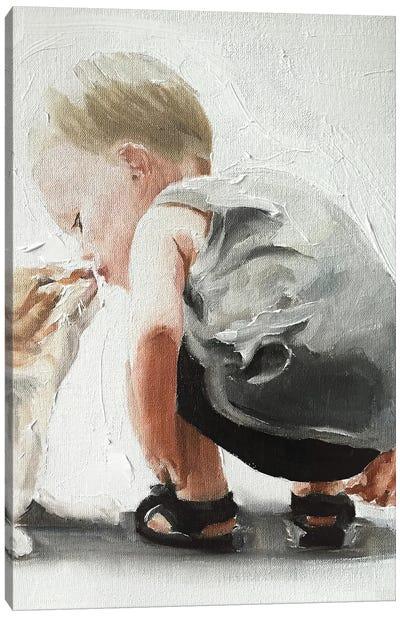 Kitten And Baby Bond Canvas Art Print