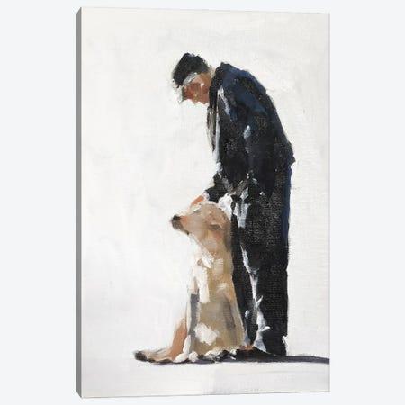 Man And His Golden Labrador Canvas Print #JCT91} by James Coates Canvas Print