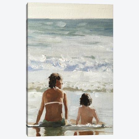Me And Mum At The Beach Canvas Print #JCT94} by James Coates Canvas Wall Art