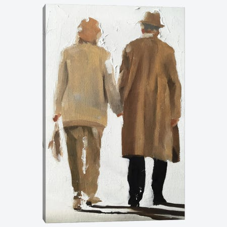 Old Couple Holding Hands Canvas Print #JCT98} by James Coates Canvas Print