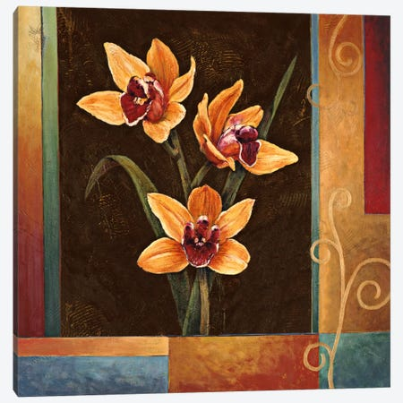 Yellow Orchids Canvas Print #JDE22} by Jill Deveraux Canvas Art