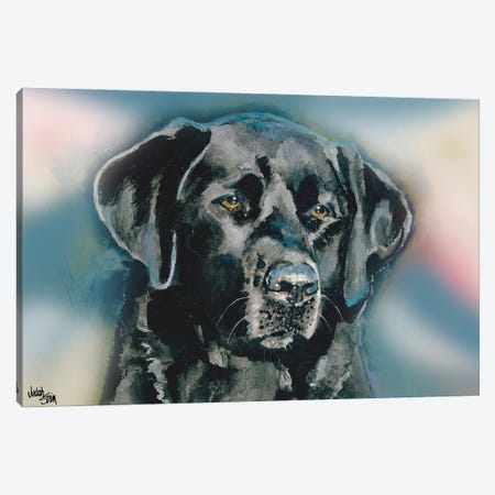 Smudge Black Lab - Blue Background Canvas Print #JDI142} by Judith Stein Canvas Wall Art