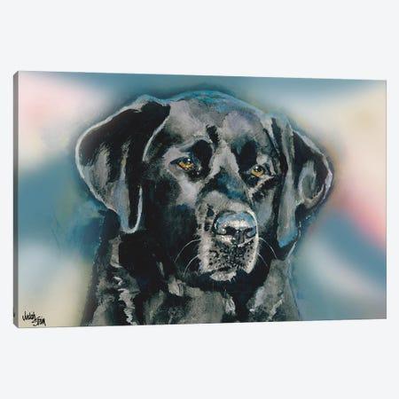 Smudge Black Lab - Blue Background Canvas Print #JDI142} by Judith Stein Canvas Wall Art