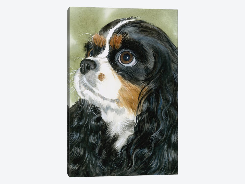 Fit for a King - Cavalier King Charles Spaniel Tri-Color by Judith Stein 1-piece Canvas Art Print