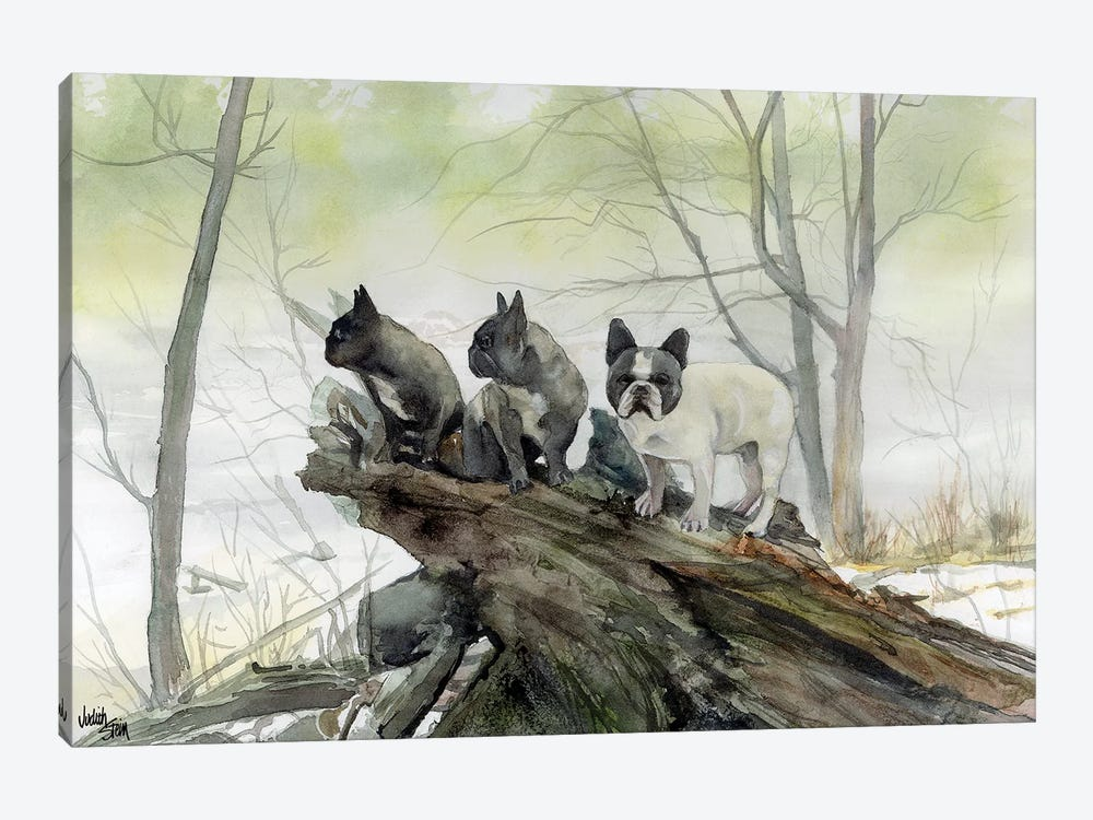 Frenchies in the Mist by Judith Stein 1-piece Art Print