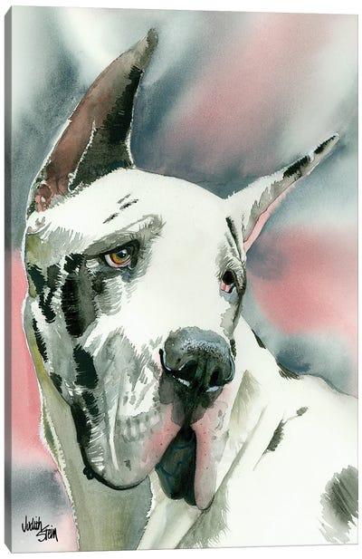 Harlequin Romance - Black & White Great Dane Canvas Art Print