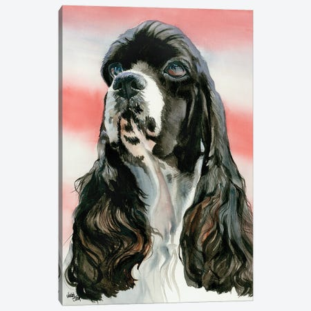 Life of the Party - Cocker Spaniel Parti colored Canvas Print #JDI95} by Judith Stein Canvas Wall Art