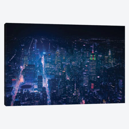 Nyc Neon Noir Canvas Print #JDL11} by Javier de la Torre Canvas Artwork