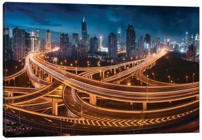 Xing Shanghai By Night Canvas Art Print