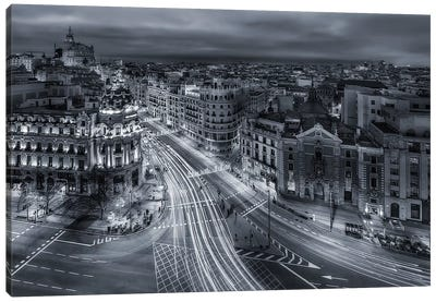 Madrid City Lights Canvas Art Print