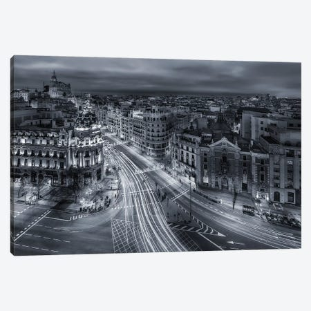 Madrid City Lights 3-Piece Canvas #JDL1} by Javier de la Torre Canvas Art Print