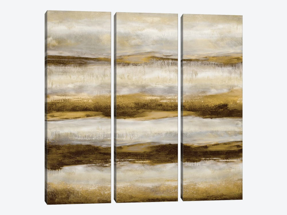 Linear Motion In Golden 3-piece Canvas Wall Art