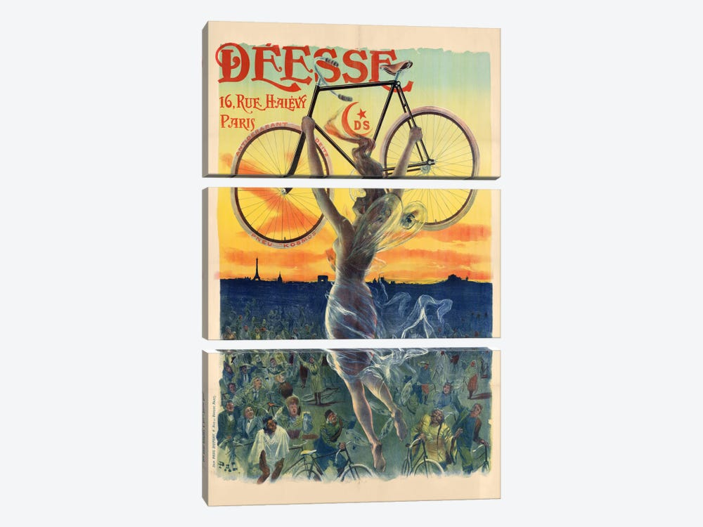 Déesse Cycles Advertisement by Jean Paleologu 3-piece Canvas Wall Art