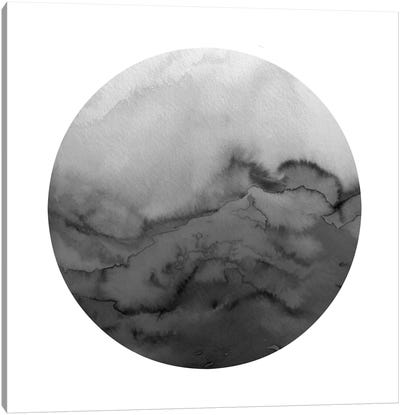 Winter Waves, Circular - Greyscale Canvas Art Print