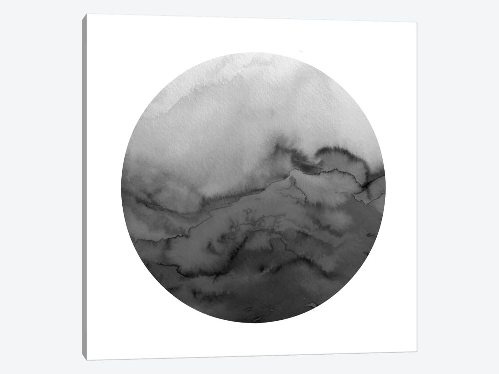 Winter Waves, Circular - Greyscale by Julia Di Sano 1-piece Canvas Print