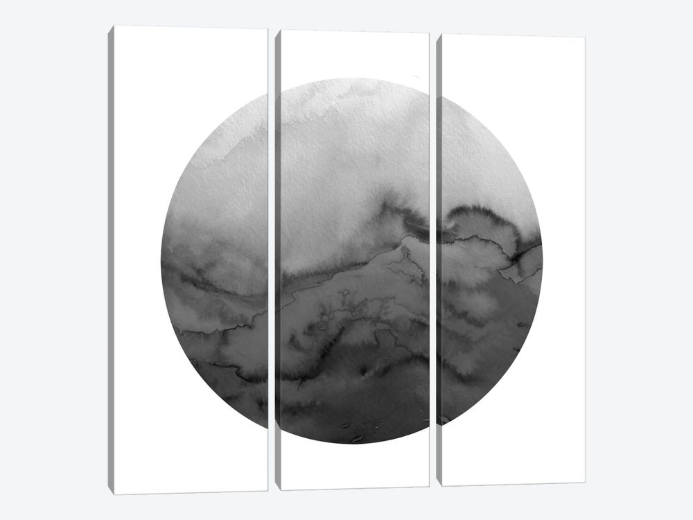 Winter Waves, Circular - Greyscale by Julia Di Sano 3-piece Canvas Print