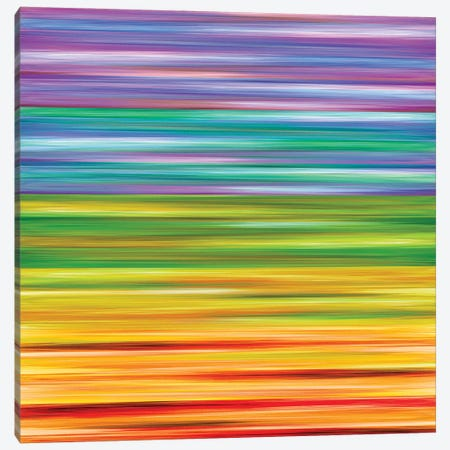 Rainbow Flow 1, Colorful Ombre Stripes Abstract Canvas Print #JDS205} by Julia Di Sano Canvas Print
