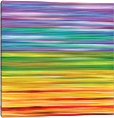 Rainbow Flow 1, Colorful Ombre Stripes Abstract Canvas Art Print