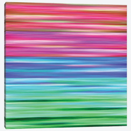 Rainbow Flow 2, Colorful Ombre Stripes Abstract Canvas Print #JDS206} by Julia Di Sano Art Print