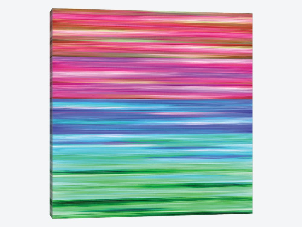 Rainbow Flow 2, Colorful Ombre Stripes Abstract by Julia Di Sano 1-piece Canvas Art