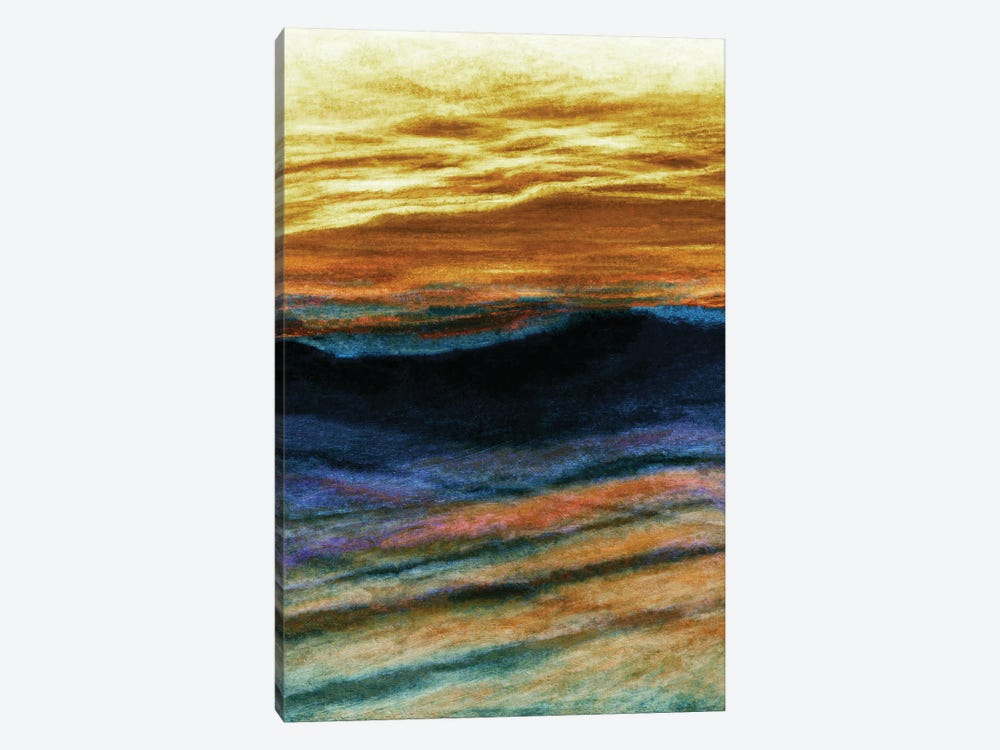 Reflections 1 Inverted, Colorful Ocean Waves Abstract by Julia Di Sano 1-piece Canvas Artwork