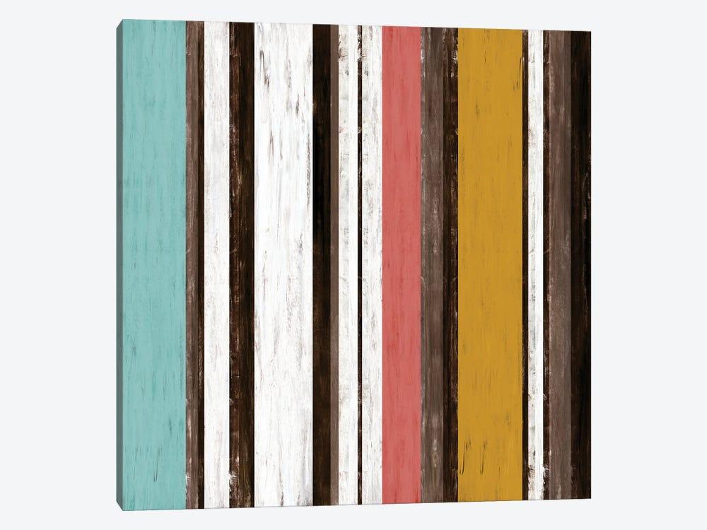 Fairweather Friends 2 Multi Inverted, Colorful Stripes Abstract by Julia Di Sano 1-piece Canvas Art