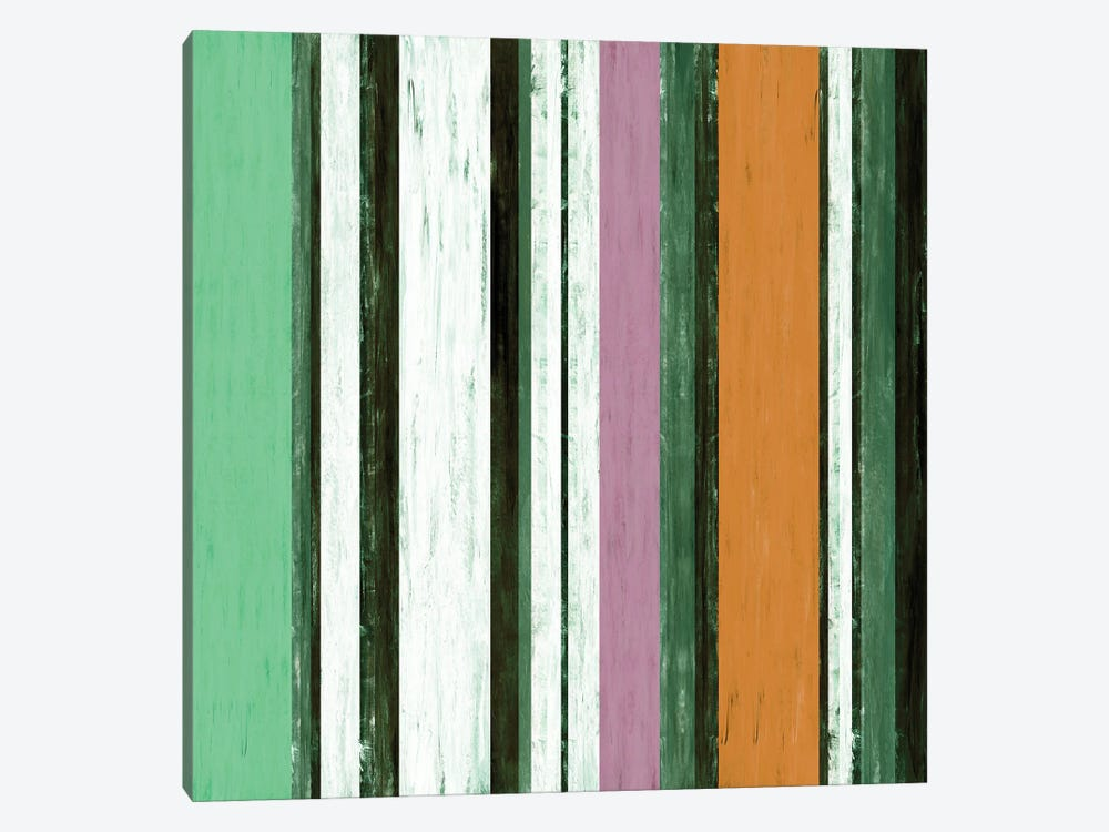 Fairweather Friends 4 Multi Inverted, Colorful Stripes Abstract by Julia Di Sano 1-piece Canvas Wall Art