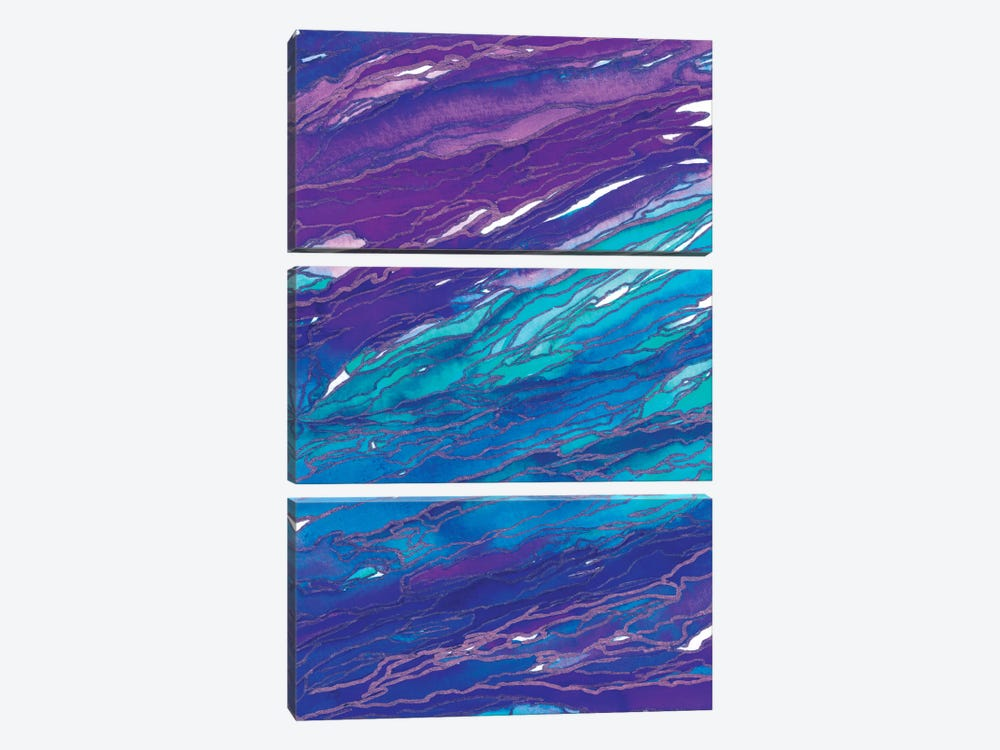 Agate Magic - Purple Aqua by Julia Di Sano 3-piece Canvas Wall Art