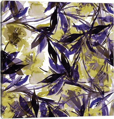 Floral Fiesta - Yellow & Violet Canvas Print #JDS42