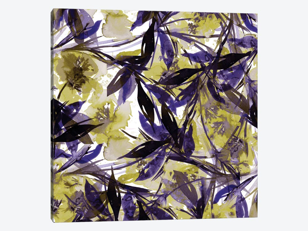 Floral Fiesta - Yellow & Violet 1-piece Canvas Wall Art