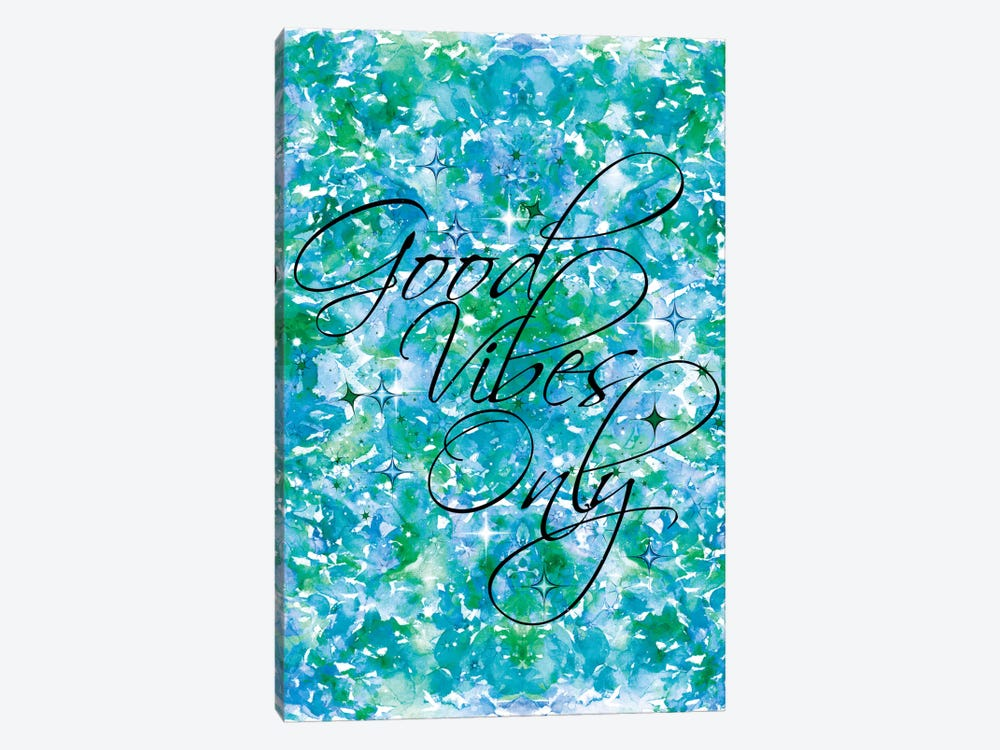 Good Vibes Only - Blue & Green by Julia Di Sano 1-piece Canvas Print
