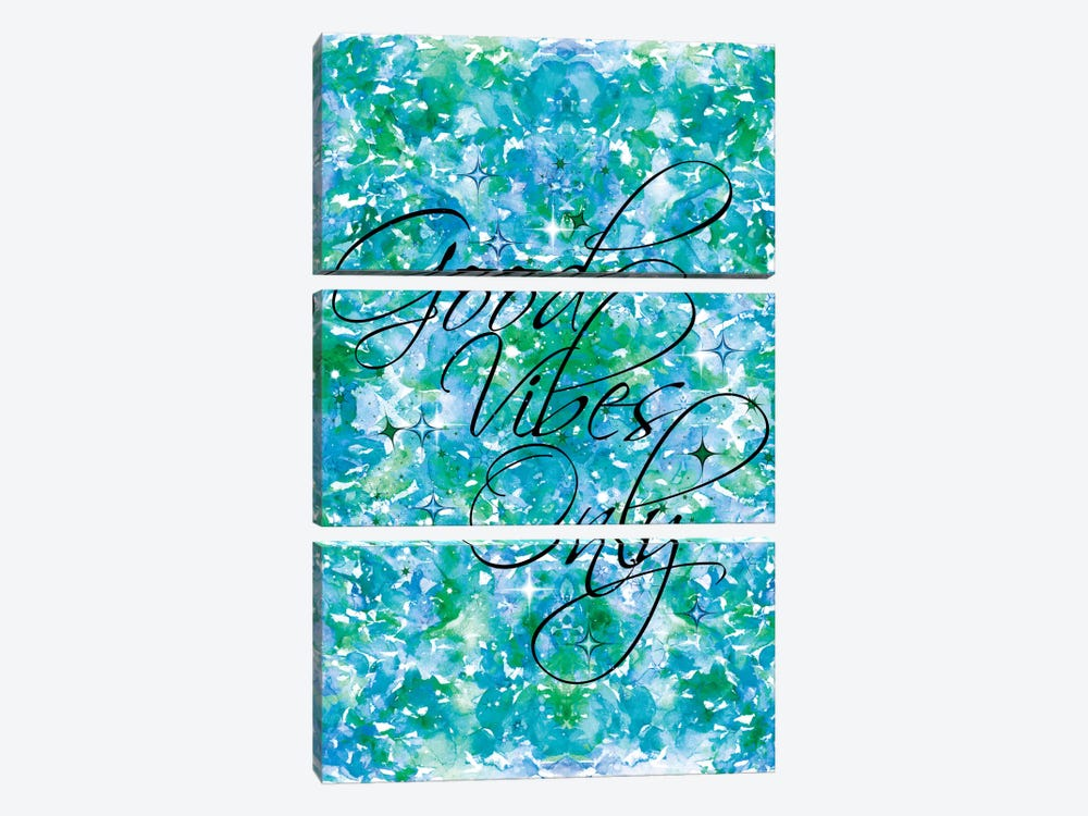 Good Vibes Only - Blue & Green by Julia Di Sano 3-piece Canvas Print