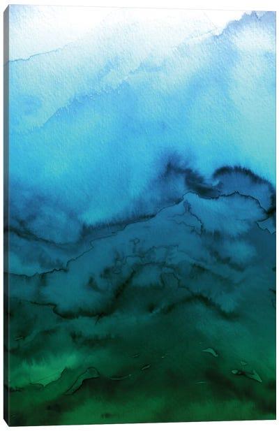 Winter Waves - Blue Green Ombre Canvas Print #JDS79