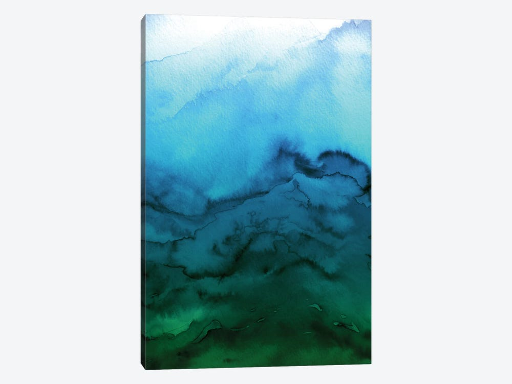 Winter Waves - Blue Green Ombre by Julia Di Sano 1-piece Canvas Wall Art